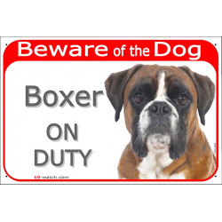 Portal Sign red 24 cm Beware of the Dog, fawn German Boxer on duty, gate plate placard panel Deutscher
