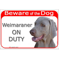 Portal Sign red 24 cm Beware of the Dog, Weimaraner on duty, gate plate placard panel Vorstehhund