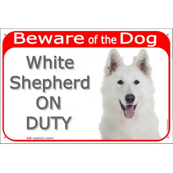Portal Sign red 24 cm Beware of the Dog, White Shepherd on duty, gate plate placard