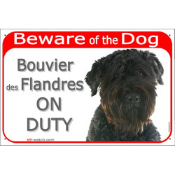 Portal Sign red 24 cm Beware of the Dog, Bouvier des Flandres on duty, gate plate Flanders Cattle Dog placard panel vlaamse Koeh