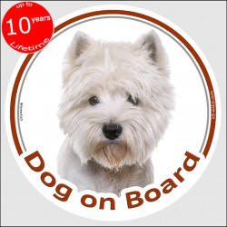 "Circle sticker ""Dog on board"" 15 cm, Westie Head, decal adhesive label west highland white terrier westy"
