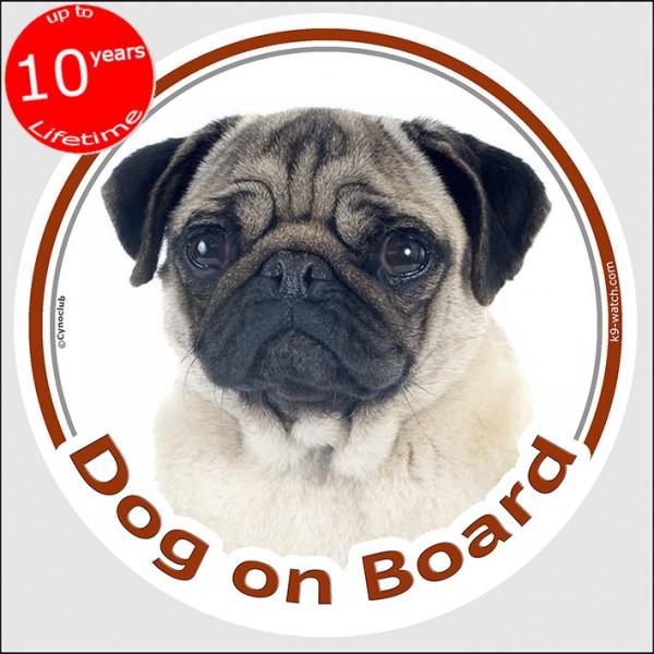 "Circle sticker ""Dog on board"" 15 cm, fawn Pug Head, decal adhesive car label"