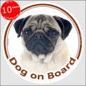 """Circle sticker """"Dog on board"""" 15 cm, fawn Pug Head"""
