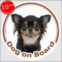 "Circle sticker ""Dog on board"" 15 cm, Black and Tan longhaired Chihuahua Head"
