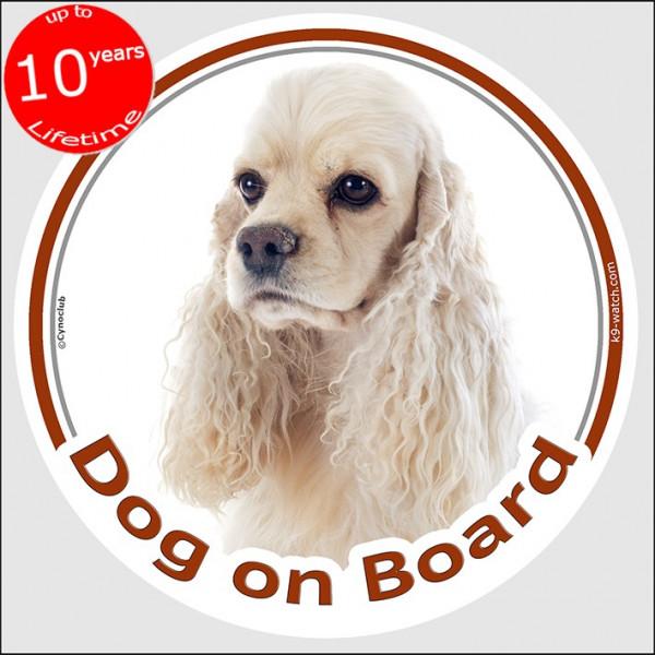 "Circle sticker ""Dog on board"" 15 cm, creme American Cocker Spaniel Head, decal adhesive car label, white"