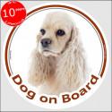 "Circle sticker ""Dog on board"" 15 cm, creme American Cocker Spaniel Head"