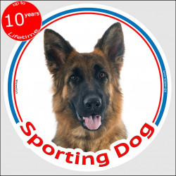 "Circle sticker In/Out ""Sporting Dog"" 15 cm, Medium Hair German Shepherd Head, decal adhesive label sport agility"