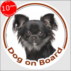 "Circle sticker ""Dog on board"" 15 cm, Black longhaired Chihuahua Head, decal adhesive car label"