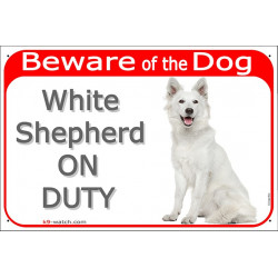 Portal Sign red 24 cm Beware of the Dog, White Shepherd on duty, gate plate placard american canadian
