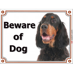 Portal Sign, 2 Sizes Beware of Dog, Setter Gordon head, gate plate black and tan placard