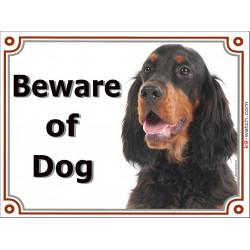 Portal Sign, 2 Sizes Beware of Dog, Setter Gordon head, gate plate black and tan placard