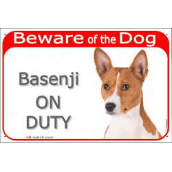 Portal Sign red 24 cm Beware of the Dog, Basenji on duty, gate plate placard