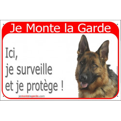 Portal Sign red 24 cm Beware of the Dog, short hair German Shepherd on duty, gate plate placard