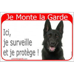 Portal Sign red 24 cm Beware of the Dog, black German Shepherd on duty gate plate placard