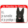 Portal Sign red 24 cm Beware of the Dog, black German Shepherd on duty