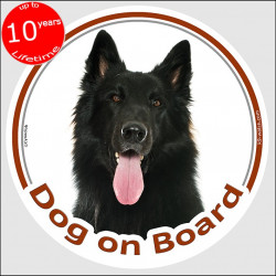 "Circle sticker ""Dog on board"" 15 cm, Groenendael Belgian Shepherd Head, decal label car"