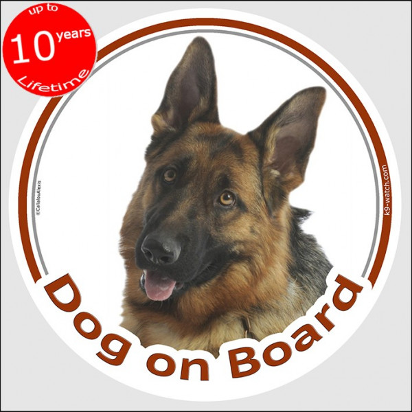 """Circle sticker """"Dog on board"""" 15 cm, Short hair German Shepherd Head, decal adhesive car label Deutsche Alsatian Wolf Schäferhun"""