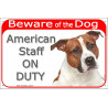 Portal Sign red 24 cm Beware of the Dog, red fawn and white Amstaff on duty