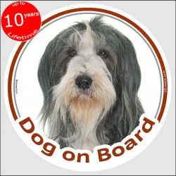 "Circle sticker ""Dog on board"" 15 cm, black and white Bearded Collie Head, decal adhesive car label Highland Mountain Hairy Mou'e"