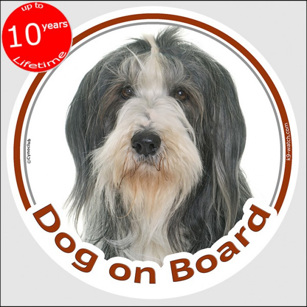 """Circle sticker """"Dog on board"""" 15 cm, black and white Bearded Collie Head, decal adhesive car label Highland Mountain Hairy Mou'e"""