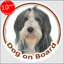 """black and white Bearded Collie, circle sticker """"Dog on board"""" 15 cm"""
