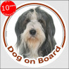 "black and white Bearded Collie, circle sticker ""Dog on board"" 15 cm"