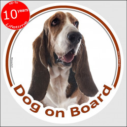 "Circle sticker ""Dog on board"" 15 cm, Basset Hound Head, adhesive decal label car Hund"