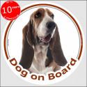 "Basset Hound circle car sticker ""Dog on board"" 15 cm decal label"
