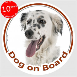 "Circle sticker ""Dog on board"" 15 cm, English Setter Head, decal adhesive car label British"