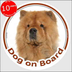 "Circle sticker ""Dog on board"" 15 cm, red Chow-Chow Head, decal adhesive car label panda choo"