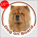 "Red Chow-Chow, car circle sticker ""Dog on board"" 15 cm, decal label"
