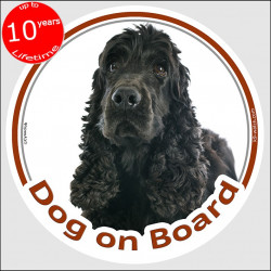 "Circle sticker ""Dog on board"" 15 cm, black English Cocker Spaniel Head, decal adhesive car label british"