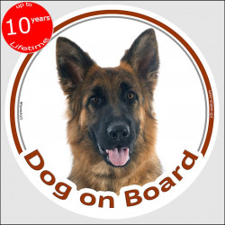 "Medium hair German Shepherd, circle car sticker ""Dog on board"" 15 cm"