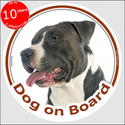 "Circle sticker ""Dog on board"" 15 cm, black and white Amstaff Head, decal adhesive car la bel American Staffordshire Terrier"