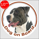 "Black and white Amstaff, circle car sticker ""Dog on board"" 15 cm"