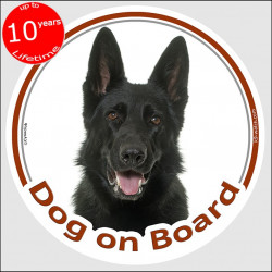 "Black German Shepherd , circle sticker ""Dog on board"" 15 cm, car decal label adhesive car short hair"