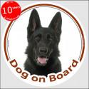 """Black German Shepherd, sticker """"Dog on board"""" 15 cm"""