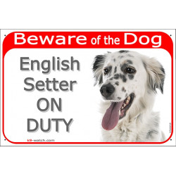 Portal Sign red 24 cm Beware of the Dog, English Setter on duty, gate plate British dog photo placard Lawerack Laverack Llewelli