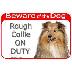 Portal Sign red 24 cm Beware of the Dog, Rough Collie on duty, Gate plate english Scottish Lassie dog