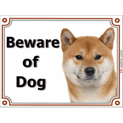 "Red Shiba Inu head, portal Sign ""Beware of Dog"" 2 Sizes, gate plate Brushwood Turf Ken japanese"