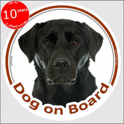 "Black Labrador, car circle sticker ""Dog on Board"" Labrador Retriever decal label adhesive photo notice"