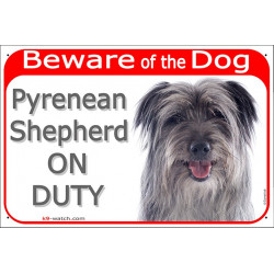 "Red Portal Sign ""Beware of the Dog, grey Pyrenean Shepherd on duty"" 24 cm, gate plate blue Labrit, notice photo dog"