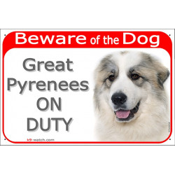 "Red Portal Sign ""Beware of the Dog, Great Pyrenees on duty"" 24 cm, gate plate Pyrenean Mountain Dog, notice Patou"