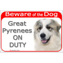 "Red Portal Sign ""Beware of the Dog, Great Pyrenees on duty"" 24 cm"