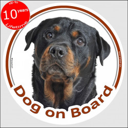 "Rottweiler , circle car sticker ""Dog on board"" 15 cm, decal label"