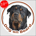 "Rottweiler , circle car sticker ""Dog on board"" 15 cm, decal label"