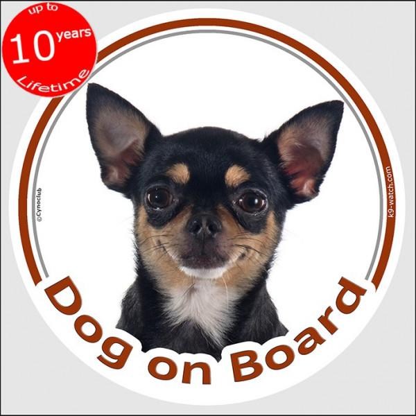 "Chihuahua black & tan short hair, circle sticker ""Dog on board"" 15 cm, car decal label car adhesive dog photo Chi"