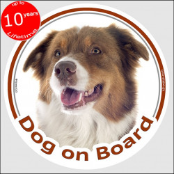 "Australian Shepherd red tricolour, circle sticker ""Dog on board"" 15 cm, car decal label adhesive Aussie"