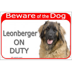 """Red Portal Sign """"Beware of the Dog, Leonberger on duty"""" 24 cm"""
