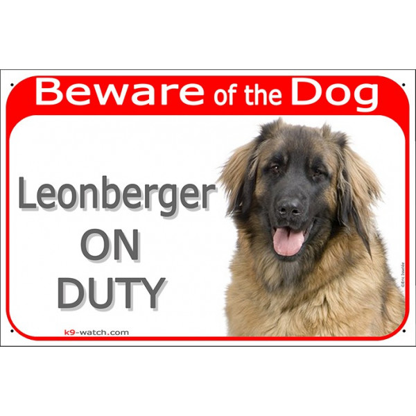 "Red Portal Sign ""Beware of the Dog, Leonberger on duty"" 24 cm, gate plate notice dog photo"